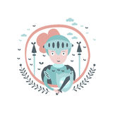 Knight Fairy Tale Character Girly Sticker In Round Frame. In Childish Simple Design  On White Background Royalty Free Stock Photos