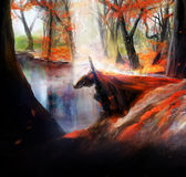 Knight. Fantasy warrior knight in red hood kneel on a autumn lake background illustration Royalty Free Stock Images