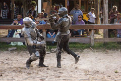 Knight Fight. Two knights fight till the end at the Sherwood Forest Fair in McDade, Texas Royalty Free Stock Photos
