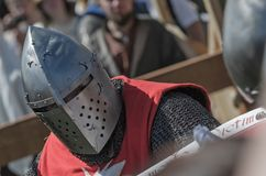 Knight fight on festival of medieval culture Royalty Free Stock Photography