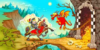 Knight fighting the dragon with treasure in a mountain landscape. Funny cartoon medieval fantasy vector illustration royalty free illustration
