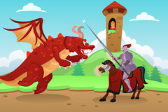 Knight Fighting a Dragon Stock Photo