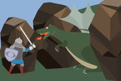 Knight fighting the dragon vector cartoon. Knight fighting the dragon in the wild - funny vector cartoon illustration Royalty Free Stock Images