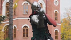 Knight is fighting for the  protection castle  attack   combat medieval. Skill stock video