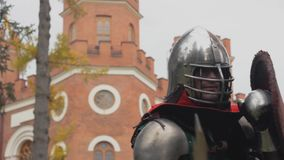 Knight is fighting in tournament attack combat medieval stock video footage