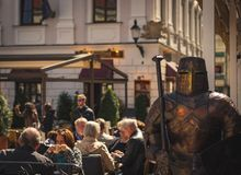 Bratislava Knight on streets royalty free stock image