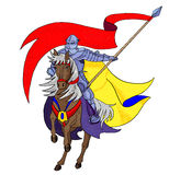The knight with a flag Royalty Free Stock Images
