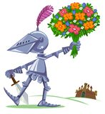 Knight with flowers Royalty Free Stock Images