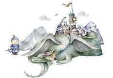 Boy knight and green dragon around mountain and castle. Adventure kid Cartoon hand drawn kid illustration on white