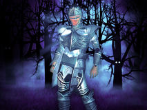 Knight in the forest. Illustration of a 3d knight in the dark haunted forest Stock Images