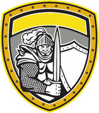 Knight Full Armor Open Visor Sword Shield Crest Retro Royalty Free Stock Photo