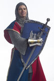Knight in full armor with shield and sword, vertical. Man dressed as a knight Royalty Free Stock Photo