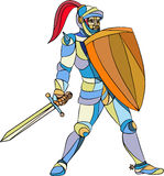 Knight Full Armor With Sword Defending Mosaic Stock Photography