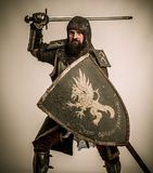 Knight in full armour Stock Photography