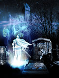Knight ghost. Ghost of knight coming out from a graveyard at the foot of a hill and a medieval castle at night stock illustration