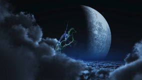 Knight in ghostly armor. A Knight in ghostly armor riding through the nights on the clouds. The knight raises his sword against the moon! A creepy fantasy scene Stock Photo