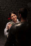 Knight giving a rose to lady Stock Photos