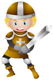 Knight in golden armour with sword. Illustration Stock Images