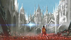 The knight in gothic land. The knight looking at mysterious light in gothic buildings, digital art style, illustration painting vector illustration