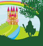 Knight guarding. Knight guards the castle, Vector Illustration Royalty Free Stock Photos