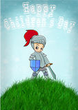 Knight happy childrens day vector illustration Royalty Free Stock Photography