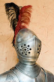 Knight helmet. Helmet of knight armour suit with feathers Royalty Free Stock Photo