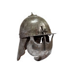 Knight Helmet. Ancient military iron knight helmet with chain mail on white background. Isolated with clipping path Stock Images