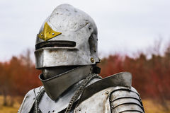 Knight in helmet and armour before battle on red forest background. Knight before battle. Close up Stock Images
