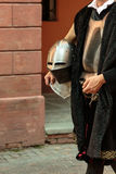 Knight with Helmet in City Streets Parade. Medieval Event Reconstruction Stock Photography