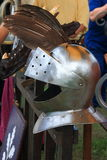 Knight helmet closeup. European closed helmet with climbing visor. Replica Stock Images