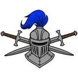 Knight Helmet and Crossed Swords Royalty Free Stock Photography