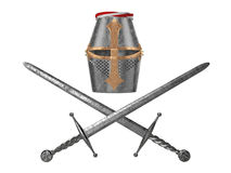 Knight helmet with swords Royalty Free Stock Images