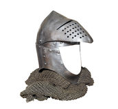 Knight helmet with visor raised and chainmail Royalty Free Stock Images