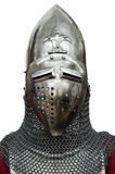 Knight helmet. On a white background royalty free stock image