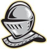 Knight Helmet Woodcut Stock Photos