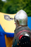 Knight with helmets visor open Stock Photo