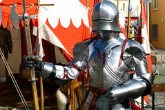 Knight with his Armour. A knight with his armour seen at the medieval market in Ulm-Söflingen, South-Germany stock photography