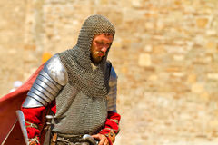 Knight on Historical Festival  in Sudak stronghold Stock Photo