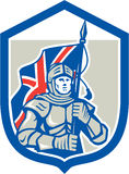 Knight Holding British Flag Shield Retro Stock Photos