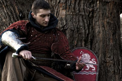Knight holding his sword Royalty Free Stock Image