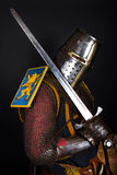 Knight is holding a sword Royalty Free Stock Photography
