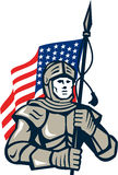 Knight Holding USA Flag Retro Stock Photos