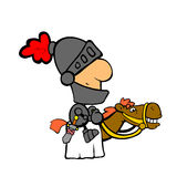Knight on horse. Cartoonish knight riding the horse Royalty Free Stock Image