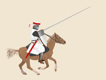 Knight on a horse. The medieval knight on a horse Stock Illustration