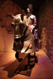 A knight and horse in full plate armor Stock Photo