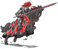 Knight on Horse Jousting Vector Cartoon Royalty Free Stock Photos