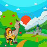 Knight and horse on the land Royalty Free Stock Photography
