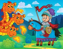 Knight on horse and lurking dragon. Eps10 vector illustration Royalty Free Stock Photography