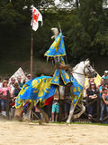 Medieval Knight Horse Riding, Prague Castle stock images