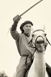 Knight on a horse, sepia Royalty Free Stock Photos